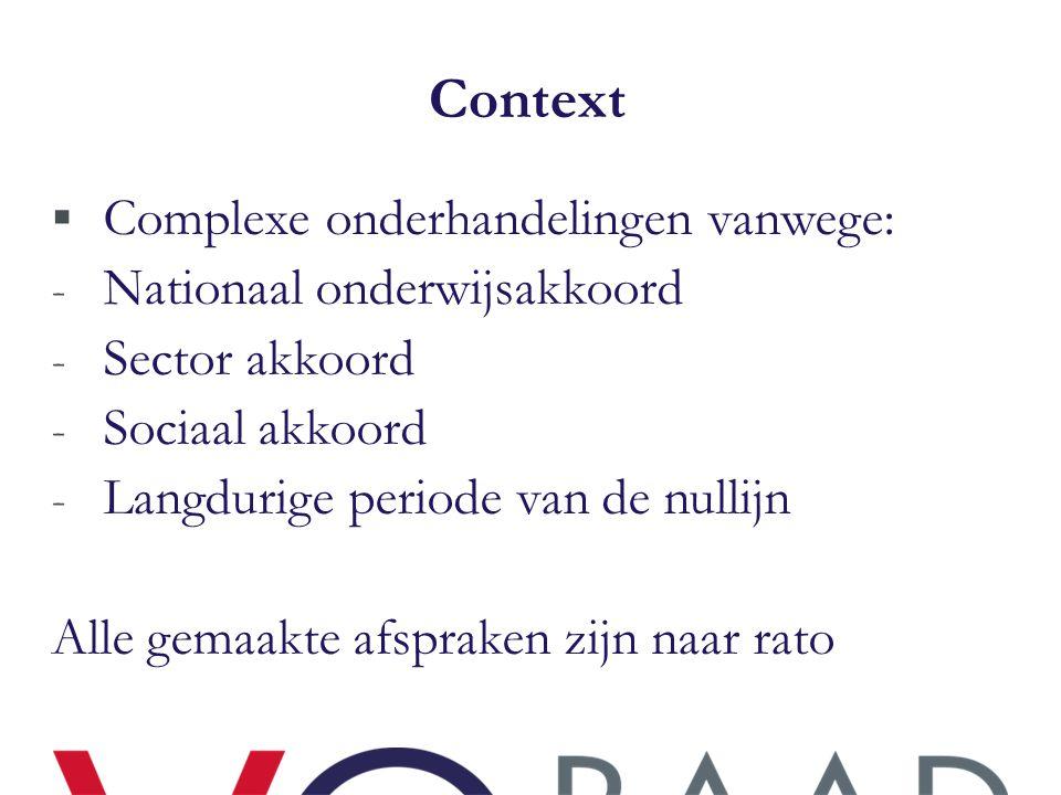 Context Complexe onderhandelingen vanwege: Nationaal onderwijsakkoord