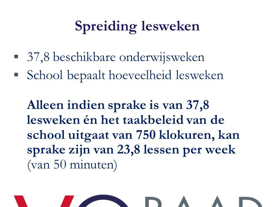 Spreiding lesweken 37,8 beschikbare onderwijsweken