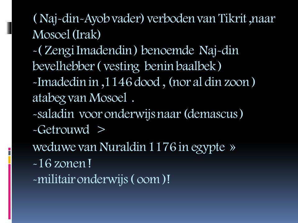 ( Naj-din-Ayob vader) verboden van Tikrit ,naar Mosoel (Irak) -( Zengi Imadendin ) benoemde Naj-din bevelhebber ( vesting benin baalbek ) -Imadedin in ,1146 dood , (nor al din zoon ) atabeg van Mosoel .