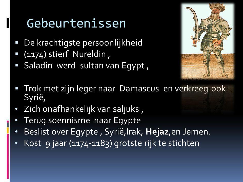 Gebeurtenissen De krachtigste persoonlijkheid (1174) stierf Nureldin ,