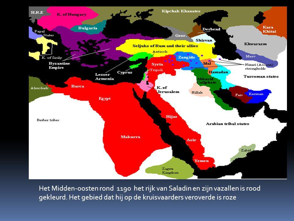 Het Midden-oosten rond 1190 het rijk van Saladin en zijn vazallen is rood gekleurd.