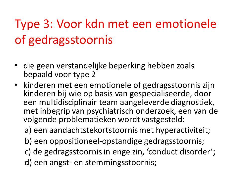 Type 3: Voor kdn met een emotionele of gedragsstoornis