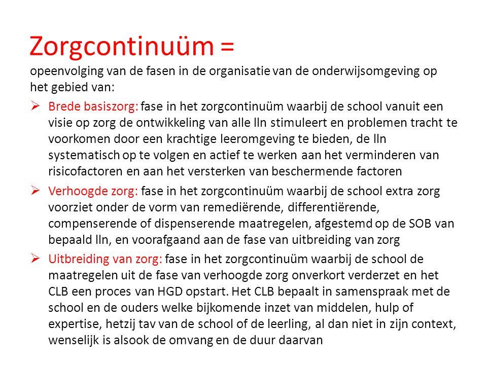 Zorgcontinuüm = opeenvolging van de fasen in de organisatie van de onderwijsomgeving op het gebied van: