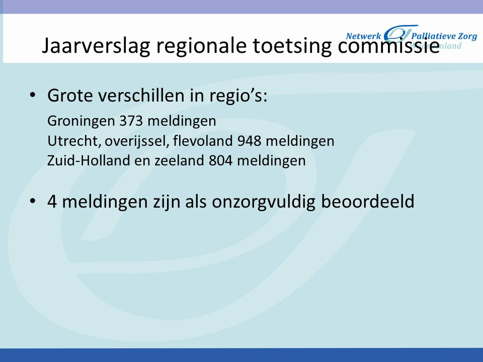 Jaarverslag regionale toetsing commissie