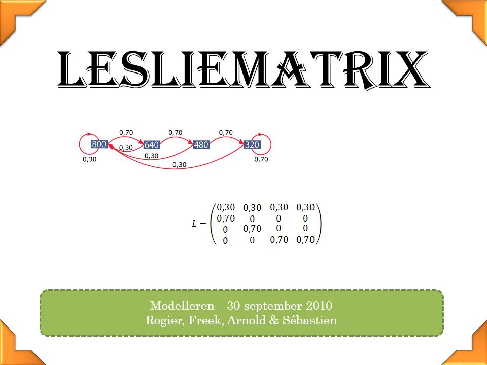 Lesliematrix Modelleren – 30 september 2010