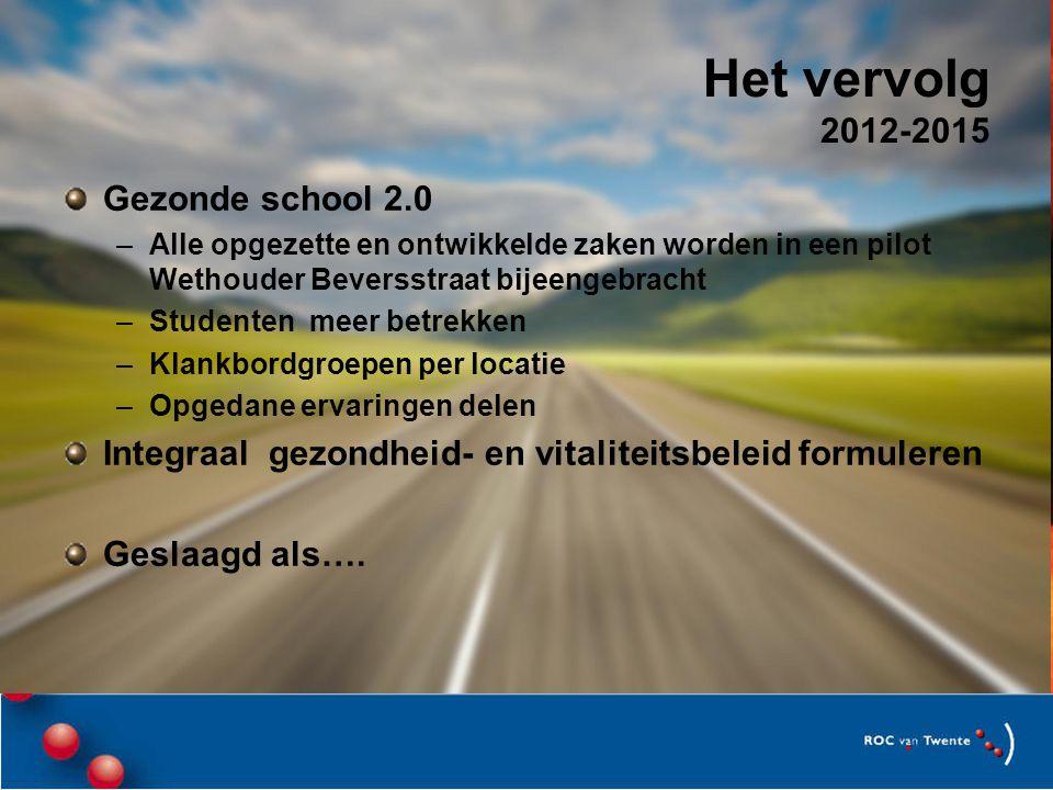 Het vervolg 2012-2015 Gezonde school 2.0