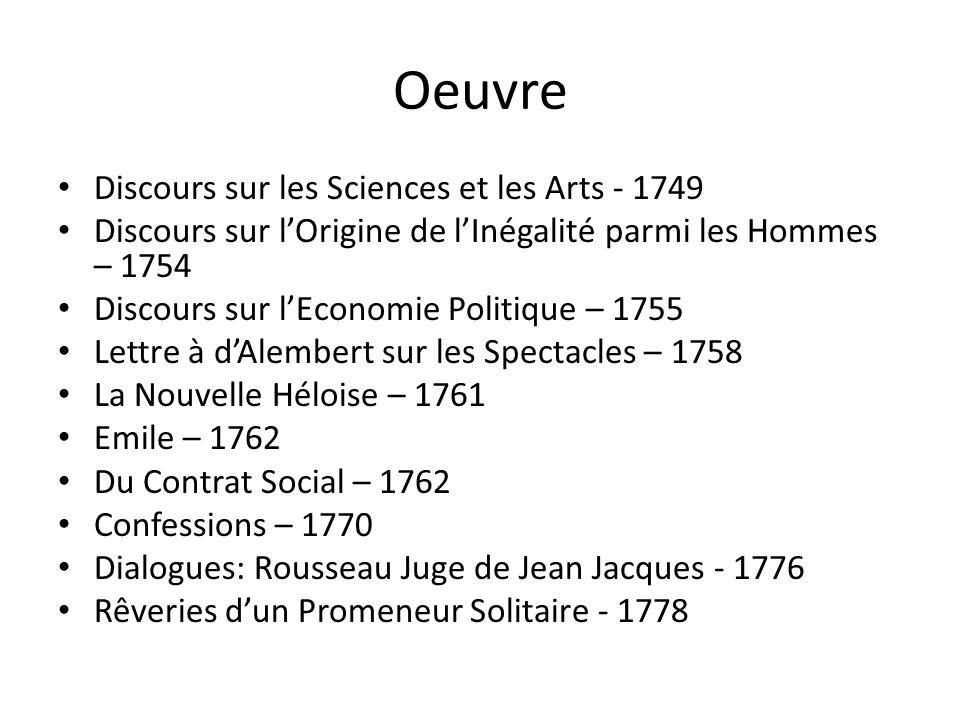 Oeuvre Discours sur les Sciences et les Arts - 1749