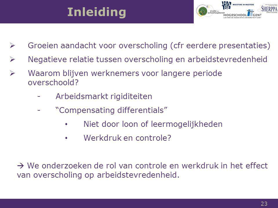 Inleiding Groeien aandacht voor overscholing (cfr eerdere presentaties) Negatieve relatie tussen overscholing en arbeidstevredenheid.