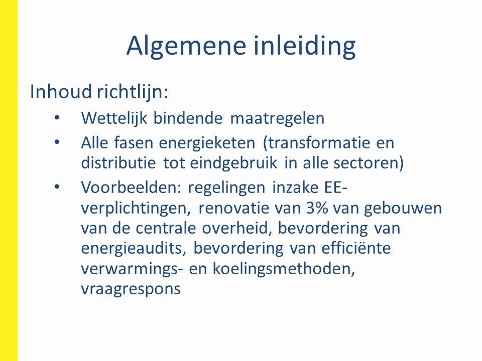 Algemene inleiding Inhoud richtlijn: Wettelijk bindende maatregelen