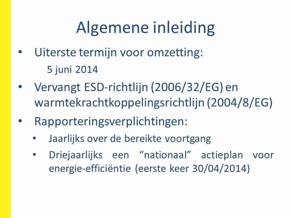 Algemene inleiding Uiterste termijn voor omzetting: