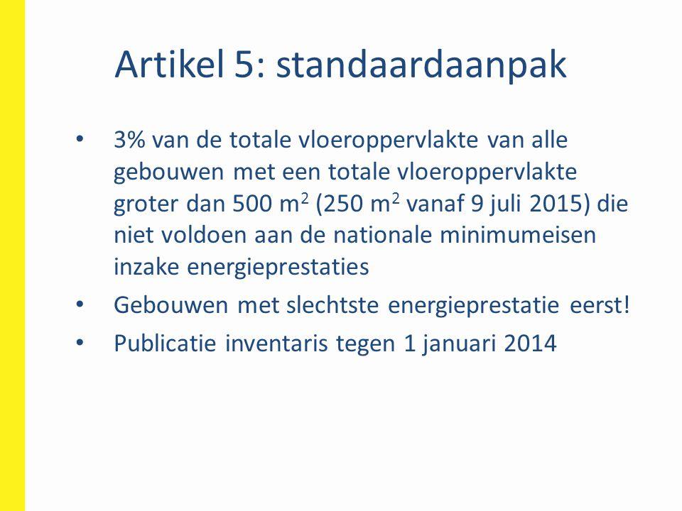 Artikel 5: standaardaanpak