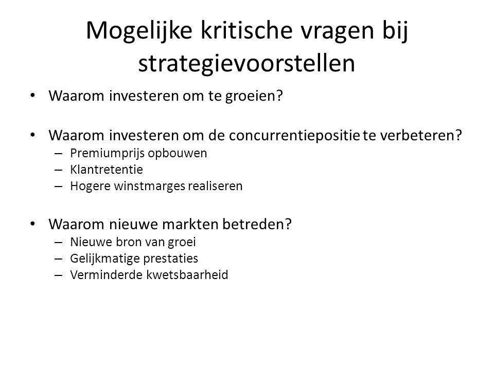Mogelijke kritische vragen bij strategievoorstellen