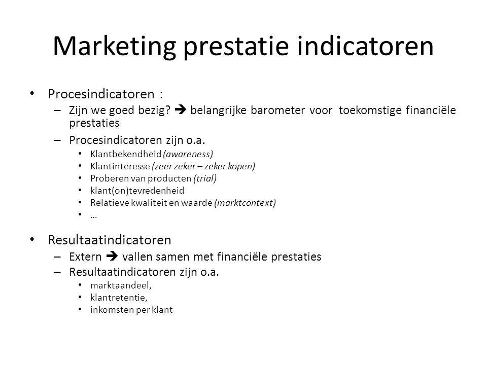 Marketing prestatie indicatoren