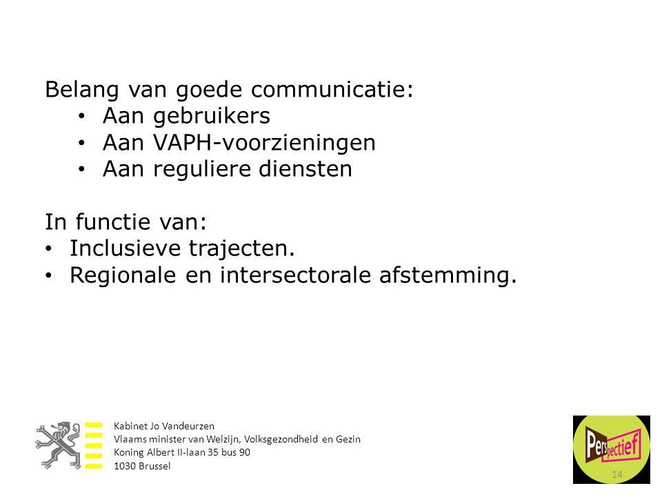 Belang van goede communicatie: Aan gebruikers Aan VAPH-voorzieningen