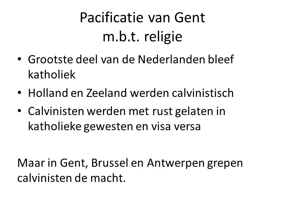 Pacificatie van Gent m.b.t. religie
