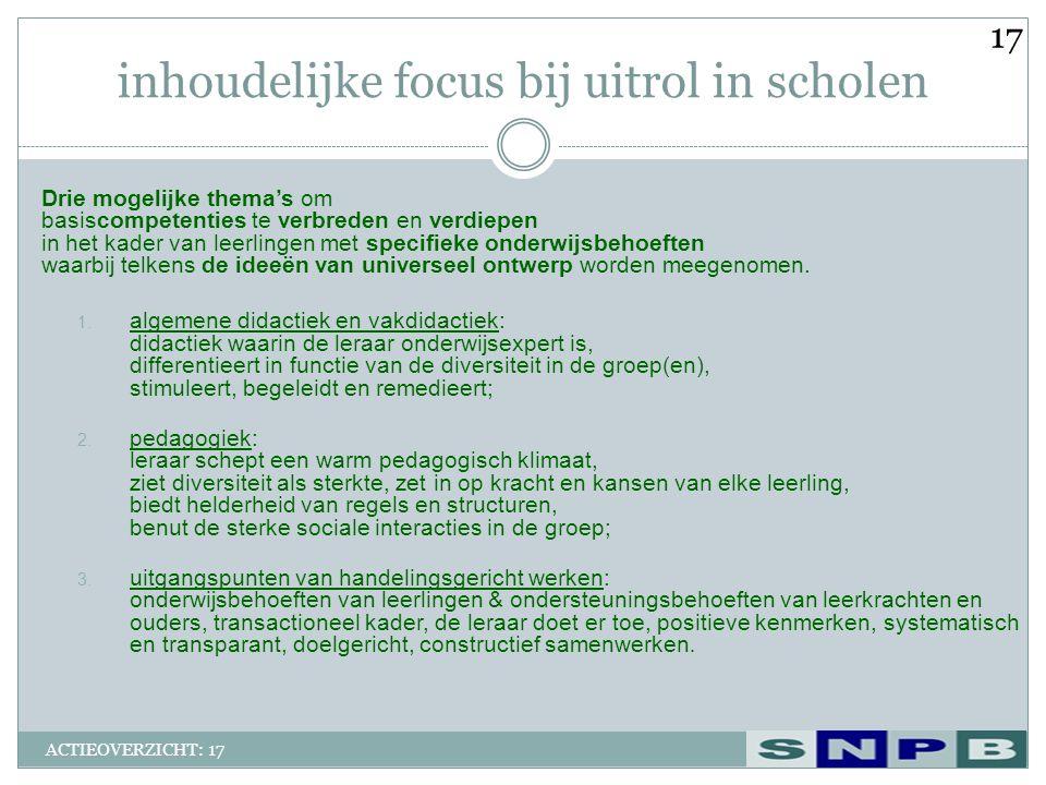 inhoudelijke focus bij uitrol in scholen