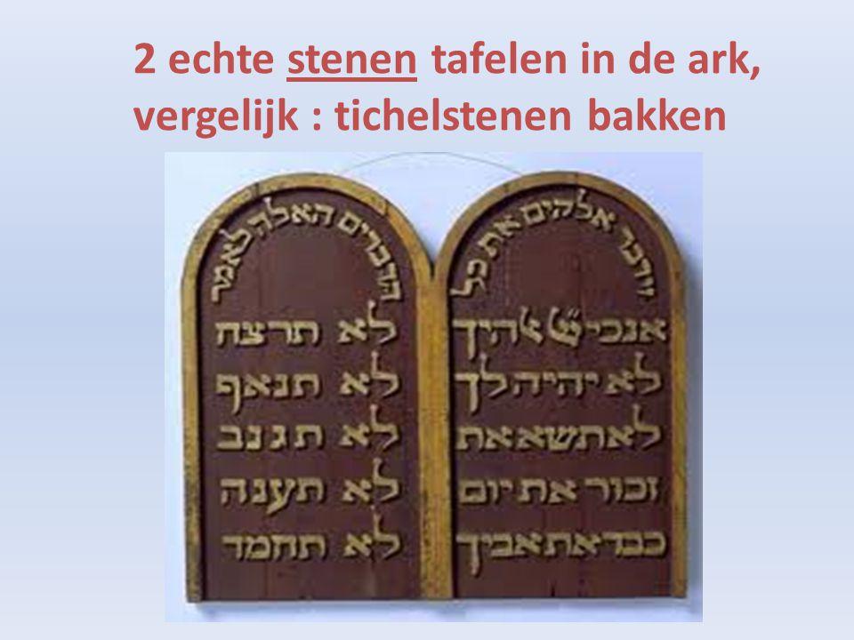 2 echte stenen tafelen in de ark,