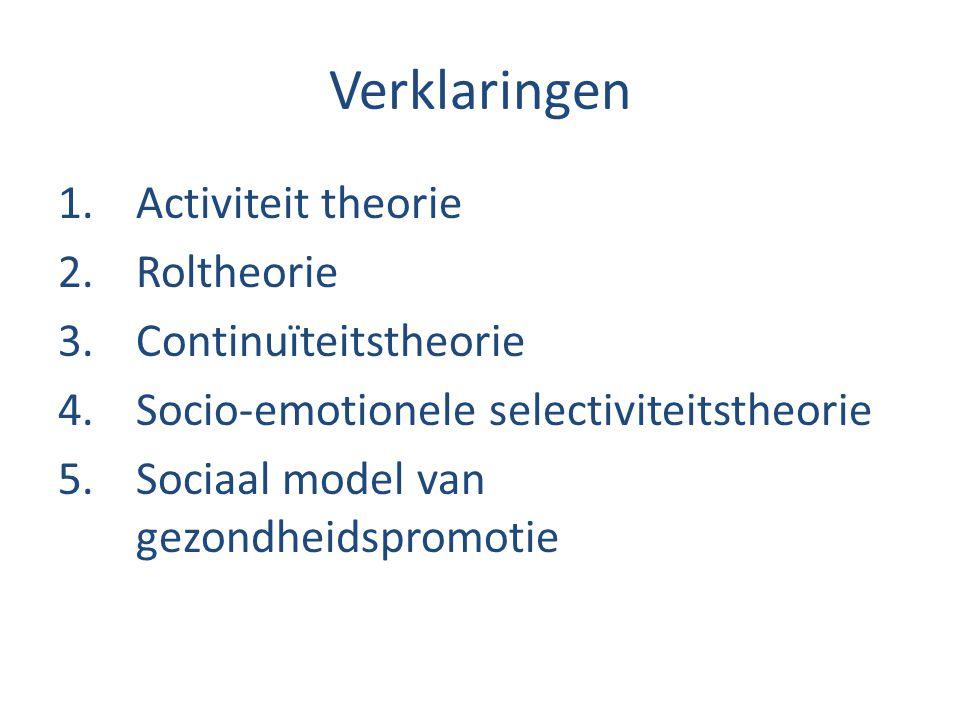 Verklaringen Activiteit theorie Roltheorie Continuïteitstheorie