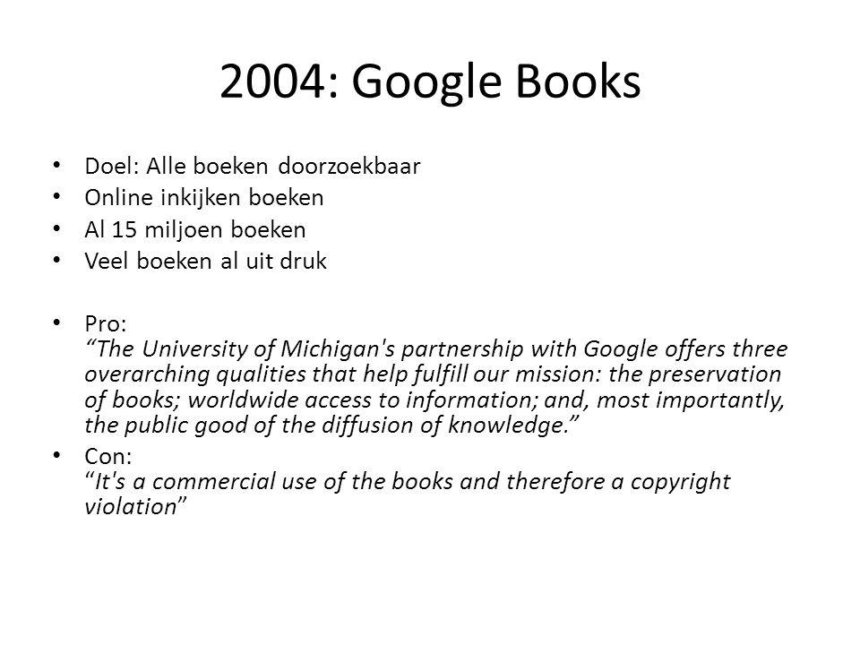 2004: Google Books Doel: Alle boeken doorzoekbaar