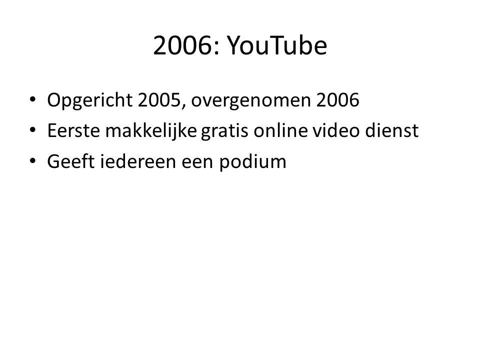 2006: YouTube Opgericht 2005, overgenomen 2006