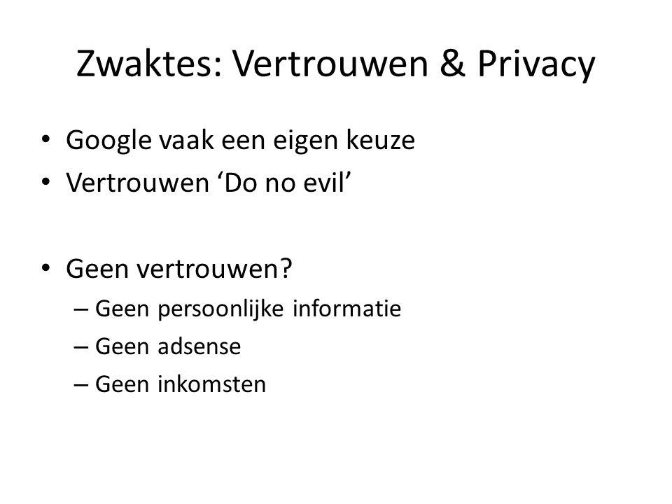 Zwaktes: Vertrouwen & Privacy