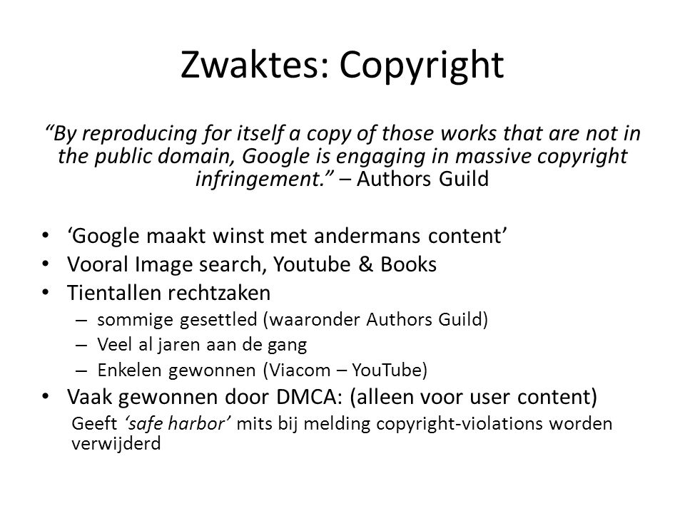 Zwaktes: Copyright
