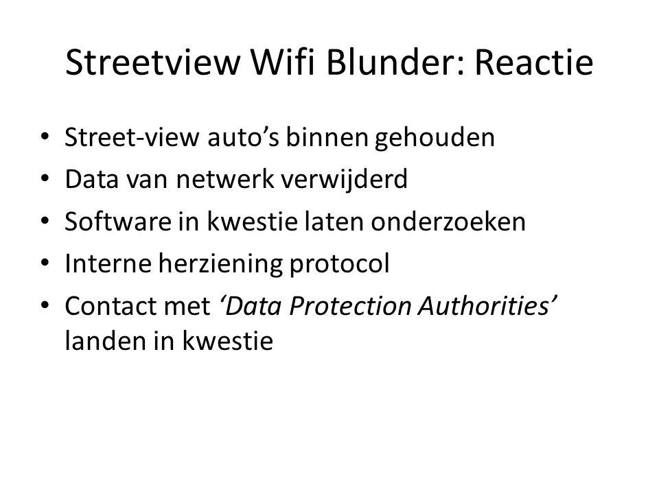 Streetview Wifi Blunder: Reactie