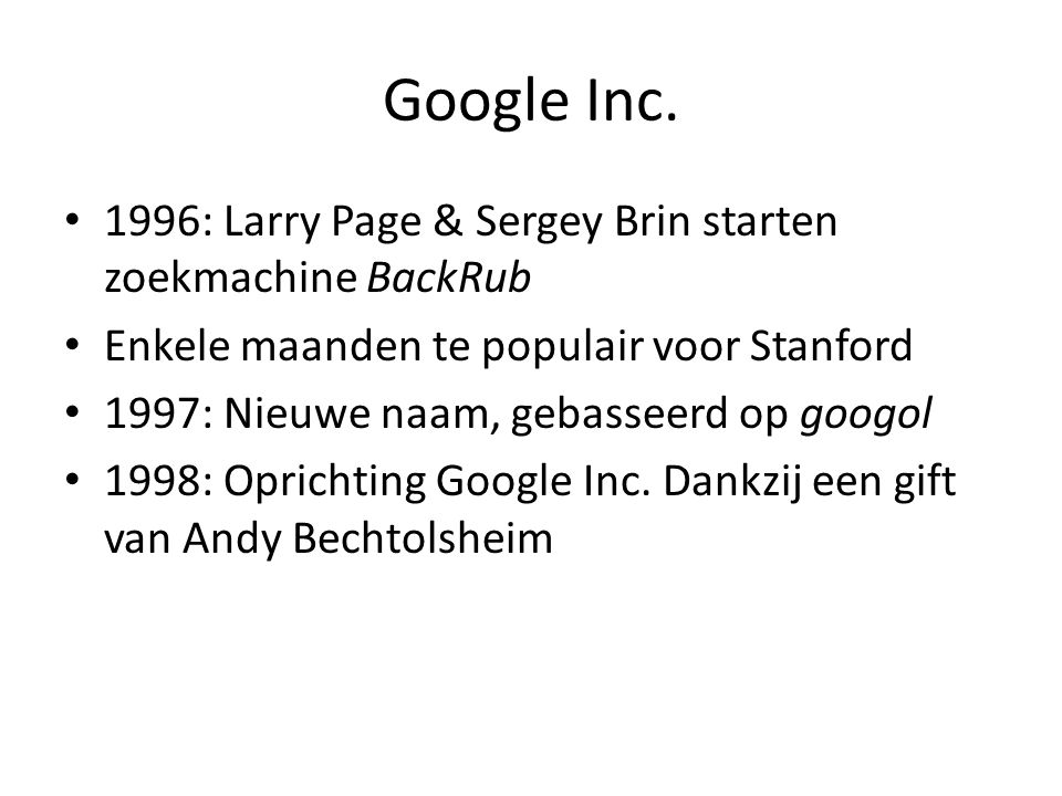 Google Inc. 1996: Larry Page & Sergey Brin starten zoekmachine BackRub