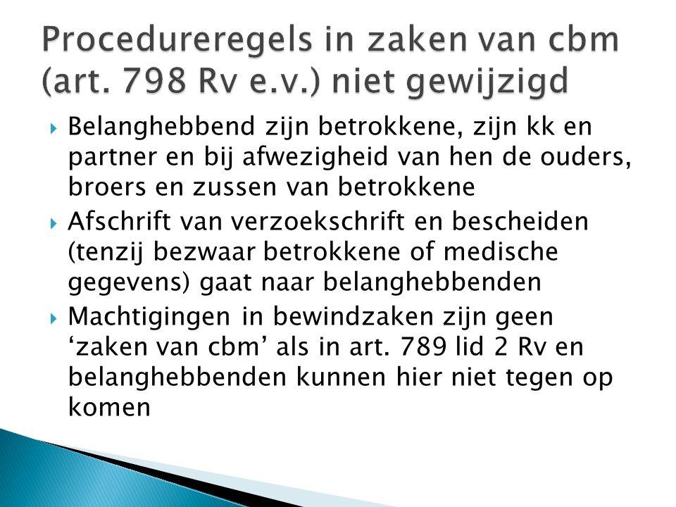 Procedureregels in zaken van cbm (art. 798 Rv e.v.) niet gewijzigd