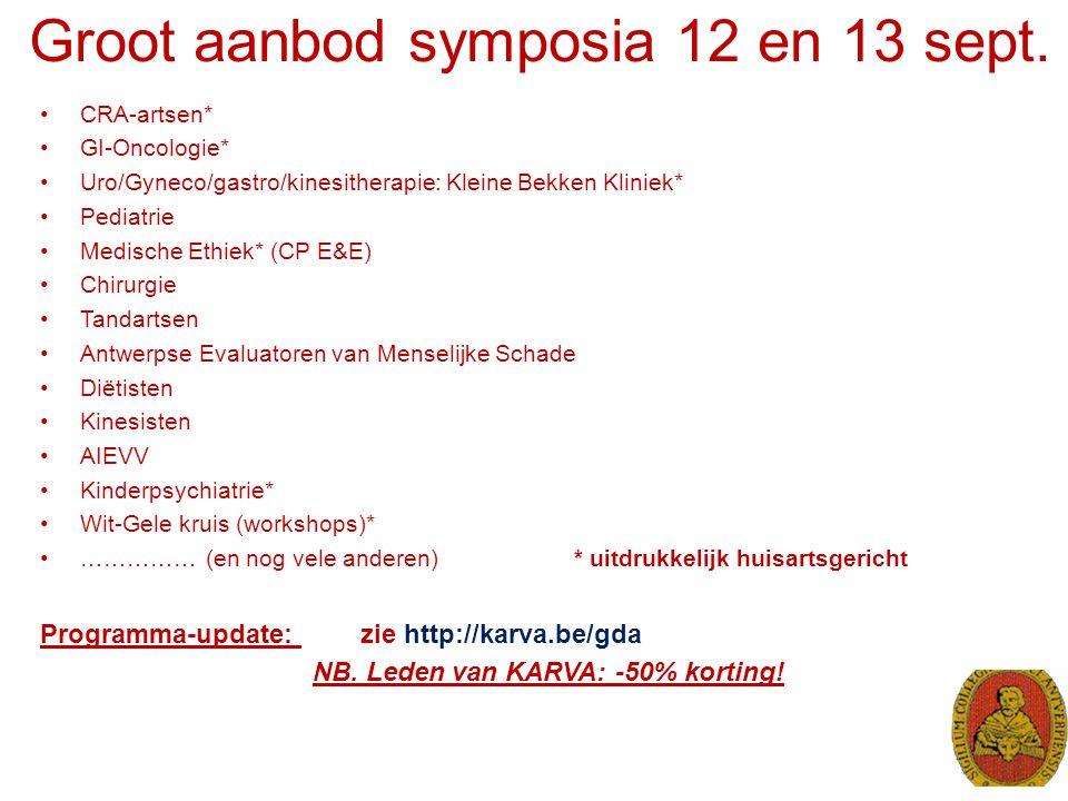 Groot aanbod symposia 12 en 13 sept.