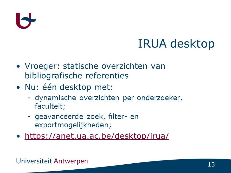 IRUA desktop Vroeger: statische overzichten van bibliografische referenties. Nu: één desktop met: