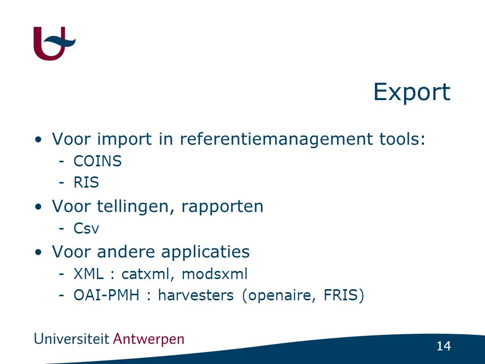 Export Voor import in referentiemanagement tools: