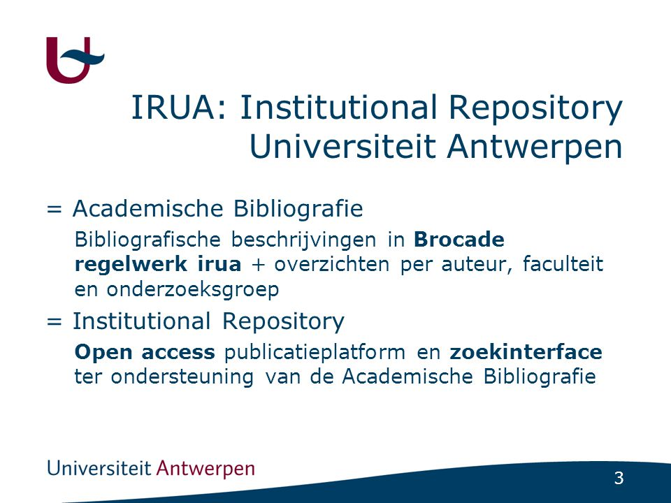 IRUA: Institutional Repository Universiteit Antwerpen