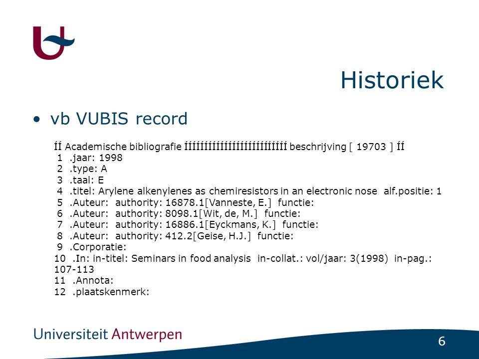 Historiek vb VUBIS record