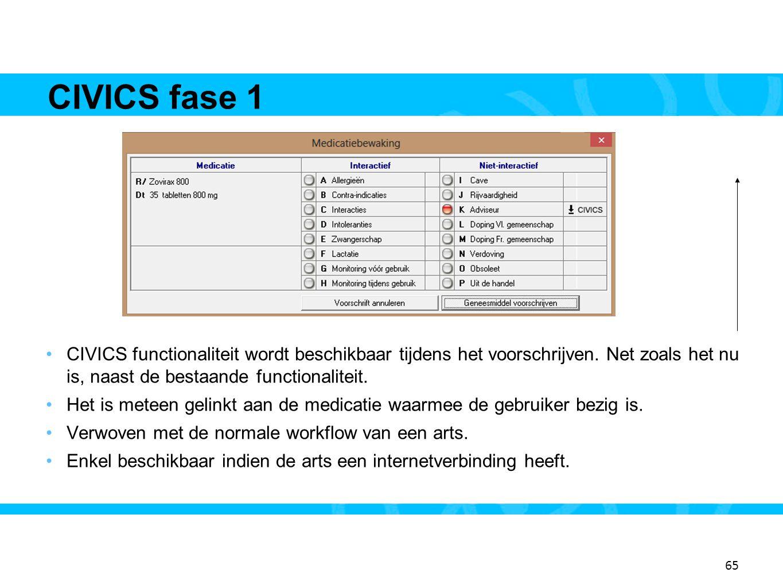 CIVICS fase 1 13. CIVICS functionaliteit wordt beschikbaar tijdens het voorschrijven. Net zoals het nu is, naast de bestaande functionaliteit.