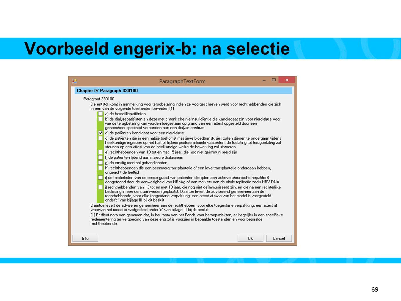 Voorbeeld engerix-b: na selectie