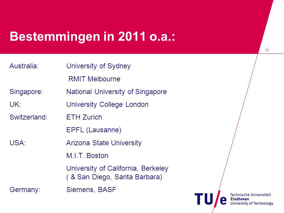 Bestemmingen in 2011 o.a.: Australia: University of Sydney