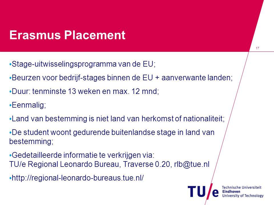 Erasmus Placement Stage-uitwisselingsprogramma van de EU;