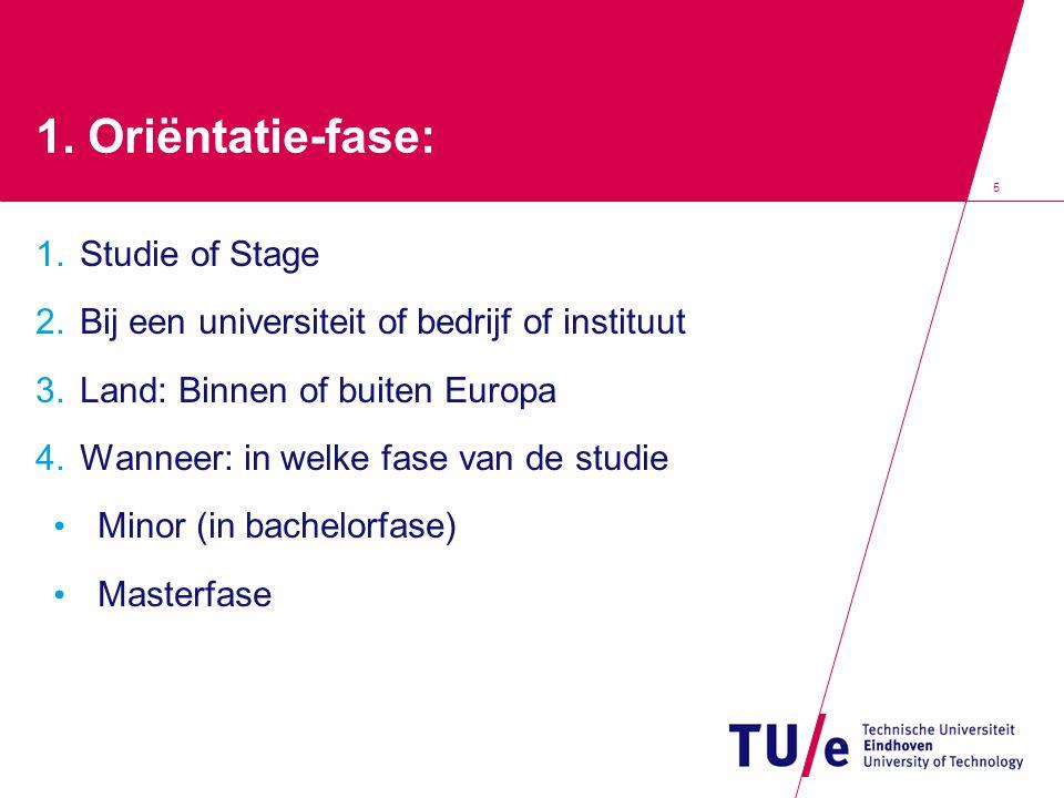 1. Oriëntatie-fase: Studie of Stage