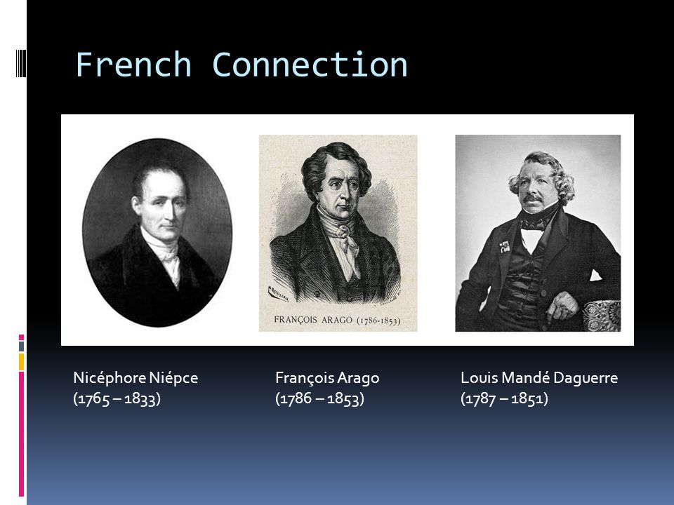 French Connection Nicéphore Niépce François Arago Louis Mandé Daguerre