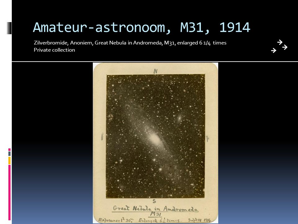 Amateur-astronoom, M31, 1914 Zilverbromide, Anoniem, Great Nebula in Andromeda, M31, enlarged 6 1/4 times.