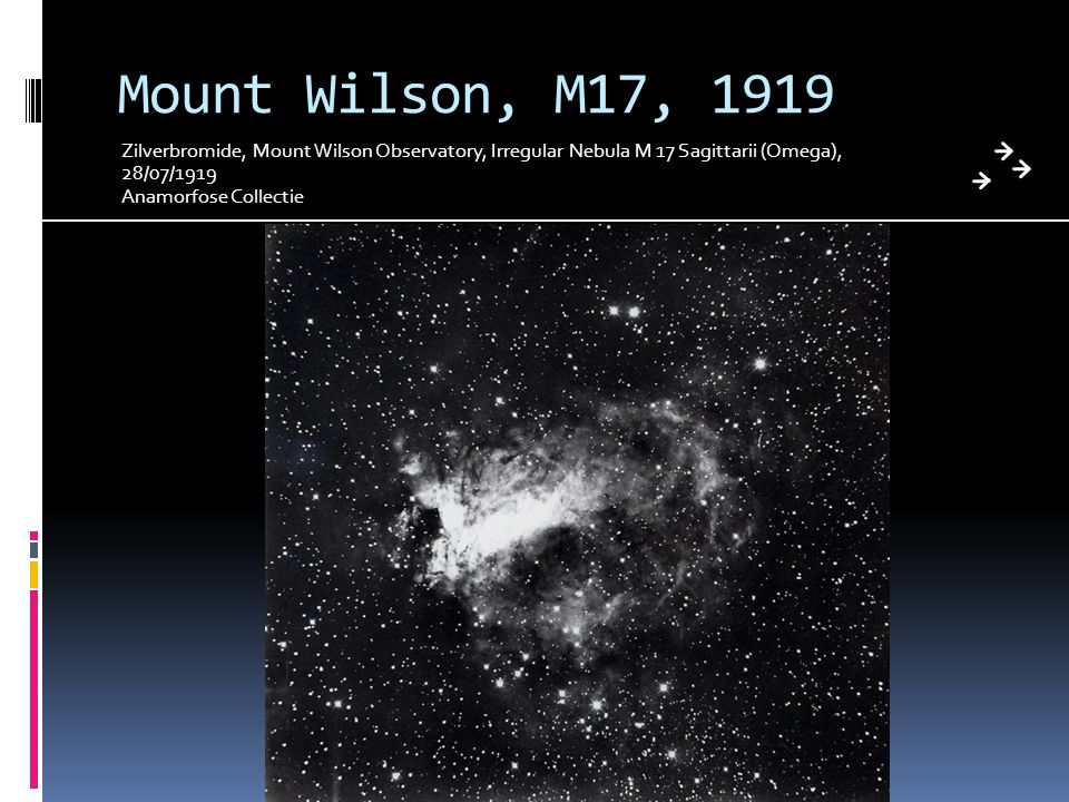 Mount Wilson, M17, 1919 Zilverbromide, Mount Wilson Observatory, Irregular Nebula M 17 Sagittarii (Omega), 28/07/1919.