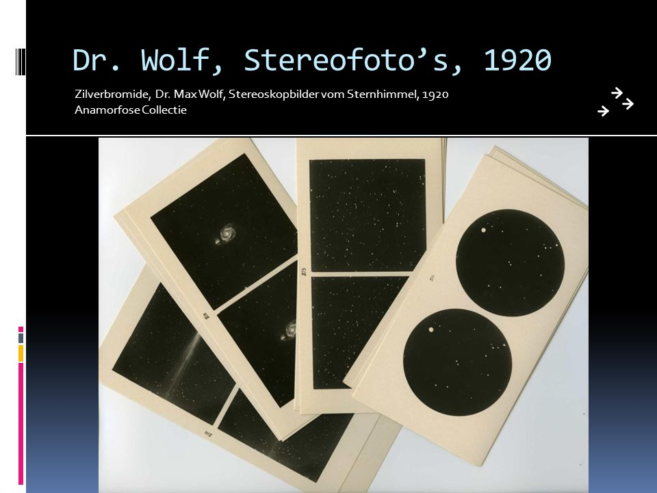 Dr. Wolf, Stereofoto's, 1920 Zilverbromide, Dr. Max Wolf, Stereoskopbilder vom Sternhimmel, 1920.