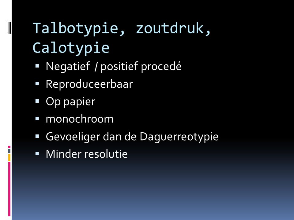 Talbotypie, zoutdruk, Calotypie