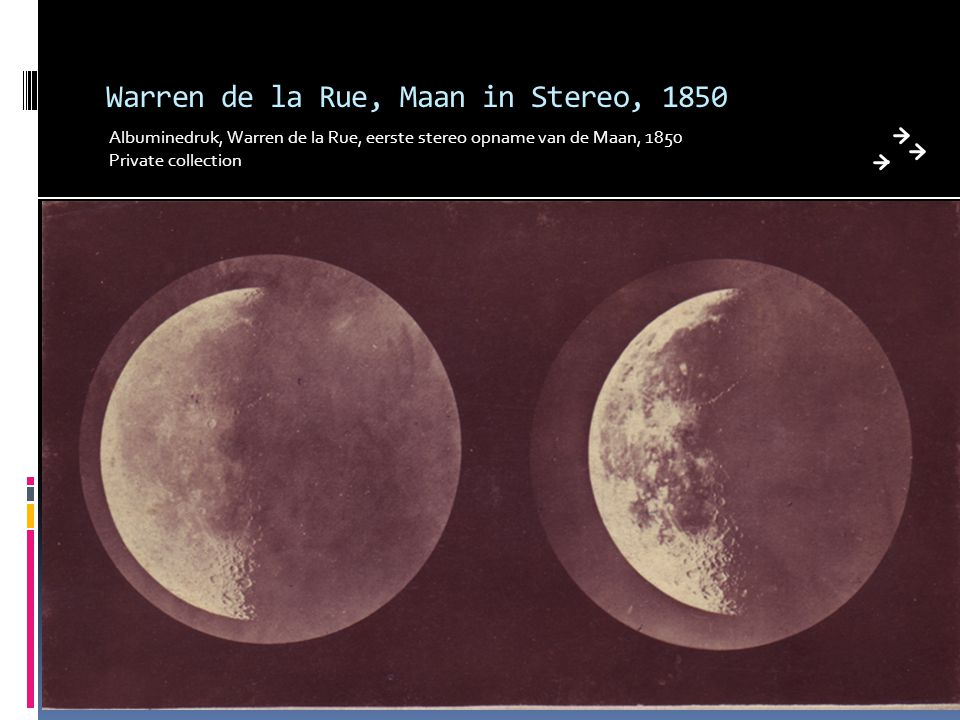 Warren de la Rue, Maan in Stereo, 1850