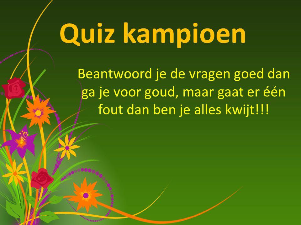 Quiz kampioen Beantwoord je de vragen goed dan ga je voor goud, maar gaat er één fout dan ben je alles kwijt!!!