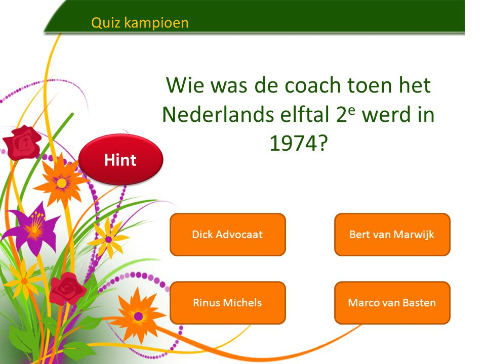 Wie was de coach toen het Nederlands elftal 2e werd in 1974