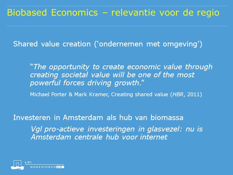 Biobased Economics – relevantie voor de regio