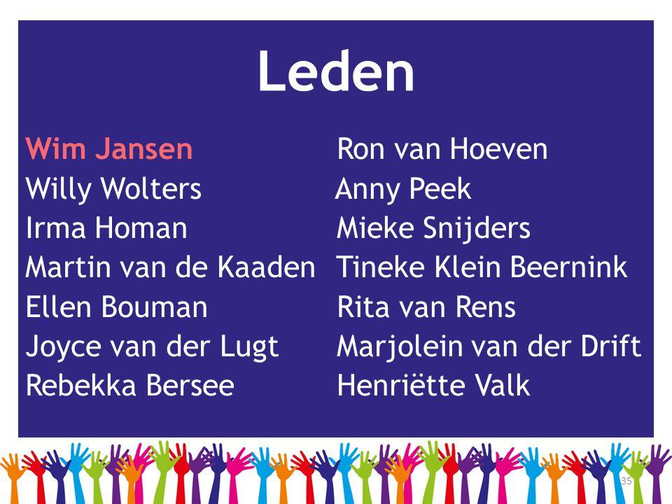 Leden Wim Jansen Ron van Hoeven Willy Wolters Anny Peek