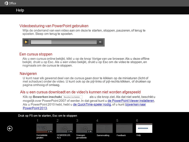 Help Help Videobesturing van PowerPoint gebruiken Een cursus stoppen